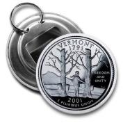 VERMONT State Quarter Mint Image 5.7cm Button Style Bottle Opener
