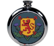 180ml Round Lion Of Scotland And Thistle Picture Flask