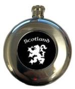 Hip Flask Round 150ml Scotland with Lion Rampant Black