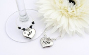 Mr and Mrs Wine Glass Charms