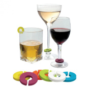 Epicureanist Multicolor Wine Glass Charms, Set of 6