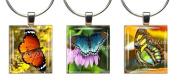 BUTTERFLIES ~ Scrabble Tile Wine Glass Charms ~ Set #4 ~ PAIR & A SPARE ~ Set of 3 ~ Stemware Charms/Markers/Pendants