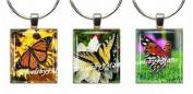 BUTTERFLIES ~ Scrabble Tile Wine Glass Charms ~ Set #9 ~ PAIR & A SPARE ~ Set of 3 ~ Stemware Charms/Markers/Pendants