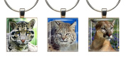 ENDANGERED WILD CATS ~ Scrabble Tile Wine Glass Charms ~ Set #2 ~ PAIR & A SPARE ~ Set of 3 ~ Stemware Charms/Markers/Pendants