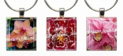 ORCHIDS ~ Scrabble Tile Wine Glass Charms ~ Set #1 ~ PAIR & A SPARE ~ Set of 3 ~ Stemware Charms/Markers/Pendants