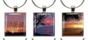 SUNSETS ~ Scrabble Tile Wine Glass Charms ~ Set #1 ~ PAIR & A SPARE ~ Set of 3 ~ Stemware Charms/Markers/Pendants