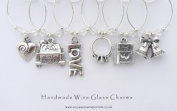 Wedding Day Theme Wine Glass Charms - Just Married Gift