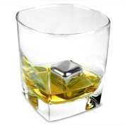 Tuscani 8 Stainless Steel Reusable Ice Cubes with Tongs