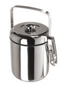 Oggi Galaxy Stainless Steel Mirror Ice Bucket with Black Insert and Tongs