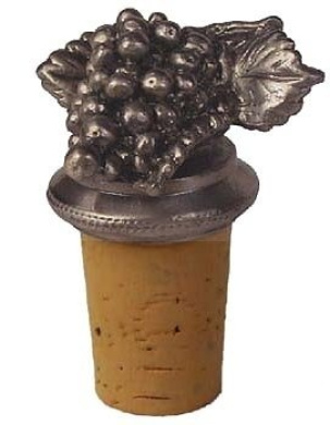 Grape Cluster Collectible Natural Pewter Wine Bottle Stopper