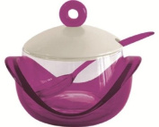 KDG International Omada Dressing Glass Grated Cheese Bowl with Tea Spoon, Plum