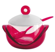 Omada M3691RR Dressing Glass Grated Cheese Bowl with Tea Spoon, Red Ruby