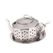 Teapot-Shape Stainless Steel Tea Infuser Strainer w/ Tray