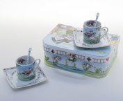 Alice In Wonderland Tea Set for Two 90ml Cups, Saucers and Spoons