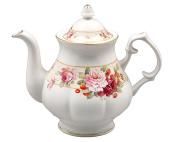 Gracie Bone China 5-Cup Teapot, Pink Peony Strawberry