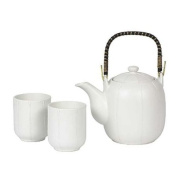 White Melon Stripes Japanese Stoneware Tea Set Gift Set with Tea Pot and Two Cups, and Infuser