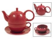 Tea for One Burgundy Gloss Finish - EnglishTeaStore Brand