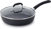 T-fal E9389764 Professional Nonstick Oven Safe Dishwasher Safe 25.4cm Fry Pan / Saute Pan Cookware with Glass Lid, Black
