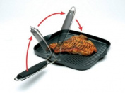Starfrit Die-Cast Aluminium Nonstick 25.4cm Square Grill Pan with Foldable Handle