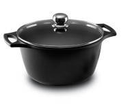 Castey Fundix 20 cm - 3 Litre Nonstick Cast Aluminium Induction Deep Casserole with Tempered Glass Lid