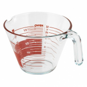 Pyrex 4-Cup Glass Measuring Cup, Read From Above Graphics