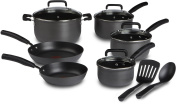 T-fal D913SC64 Signature Hard Anodized Oven Safe Nonstick Thermo-Spot Heat Indicator 12-Piece Cookware Set, Grey
