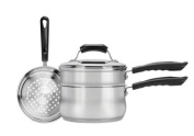 Range Kleen 4-Piece 2.8l Sauce Pan with Lid, Steamer and Double Boiler Insert