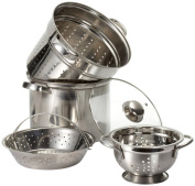 Prime Pacific Pasta Cooker and Steamer set with Glass Lid and Bonus 1.4l Euro Colander