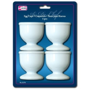 Lot of 4 White Plastic Egg Cups Cook Hard Soft Boiled