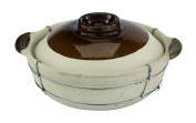 Paderno World Cuisine 3.8oz Dual-handled Unglazed Clay Cooking Pot, Lid Included