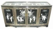 Oriental Furniture Asian Furniture and Decor 152.4cm Fine Chinese Black Lacquer Slant Front Buffet Cabinet Credenza with MOP