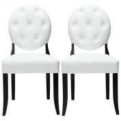 LexMod Buttoned Ghost Chair in White Vinyl with Black Legs Set of 2