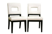 Baxton Studio Diaz White Leather Dining Chair Set of 2