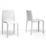 Baxton Studio Blanche Moulded Plastic Modern Dining Chair, White, Set of 2