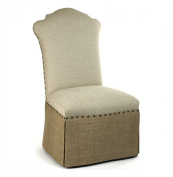 French Country Jute Linen Skirted Dining Chair