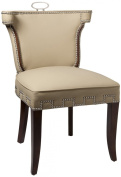Global Views 85.1cm by 58.4cm Square Leather Casino Chair, Beige with Nickel Tacks