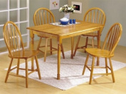 5pc Oak Finish Wood Dining Table & 4 Windsor Chairs Set