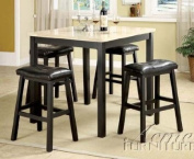 5pc Counter Height Table & Stools Set with Faux Marble Top in Black Finish