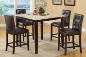 Counter Height Table With Faux Marble Top and 4 High Chairs