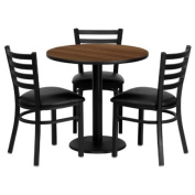 30'' Round Walnut Laminate Table Set with 3 Ladder Back Metal Chairs - Black Vinyl Seat [MD-0002-GG]