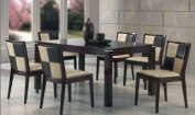 Beautiful Solid Wood Dining Table and 6 Pu Seat & Back Side Chairs in Espresso Finish #AD 91900,91902