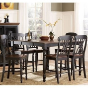 Counter Height Dining Table in Antique Black with Warm Cherry Top