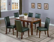 Dining Table with Marble Paper Veneer Top with Wood in Cherry Finish ADS90334