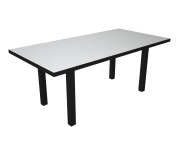 Recycled Earth-Friendly European Rectangle Dining Table - White with Black Frame