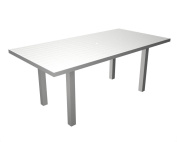 Recycled Earth-Friendly European Rectangle Dining Table -White with Silver Frame