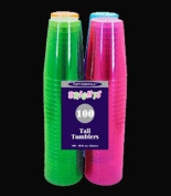 Northwest Enterprises Hard Plastic 300ml Party Cups and Tall Tumblers, Assorted Neon, 100-Count