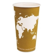 Eco Products EPBHC20WA World Art Renewable Resource Compostable Hot Drink Cups, 590ml, Tan, 1000/Carton