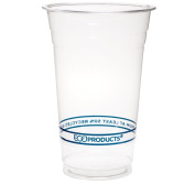 Eco-Product EP-CR20 BlueStripe Recycled PET Cold Cup, 590ml Capacity