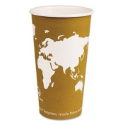 Eco-Products World Art Renewable Resource Compostable Hot Drink Cups, 590ml, Tan