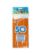 Flexible Orange Plastic Drink Straws, 50pk